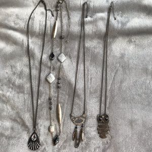 Silver and black necklace bundle